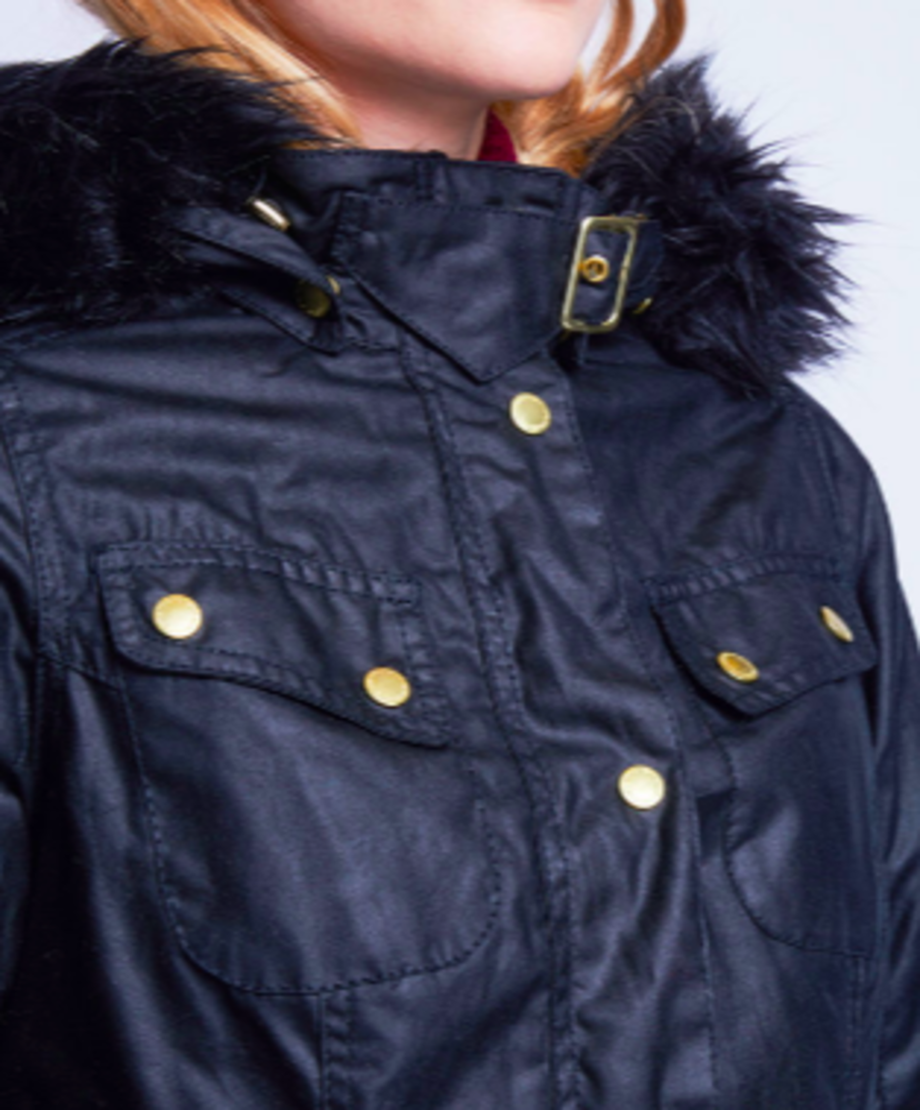 Barbour Mallory Wax Black Parka Jacket