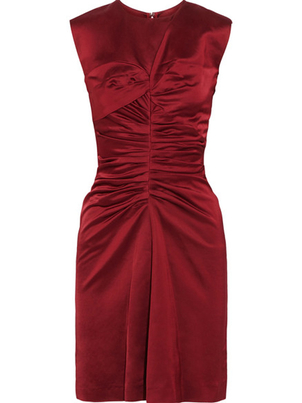 Isabel Marant Isabel Marant Esta Ruched Satin Dress in Merlot Dresses