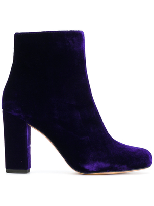 IRO Iro Velvet Purple Block Heel Bootie Shoes