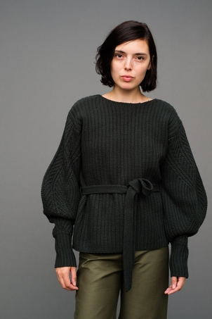Sea Classic Sweater with Voluminous Sleeve Tops