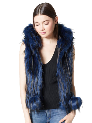 Ramy Brook Ramy Brook Hollie Vest in Blue Outerwear