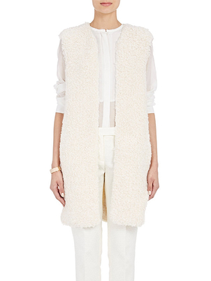 Tomorrowland Tomorrowland Long Gillet in White Outerwear