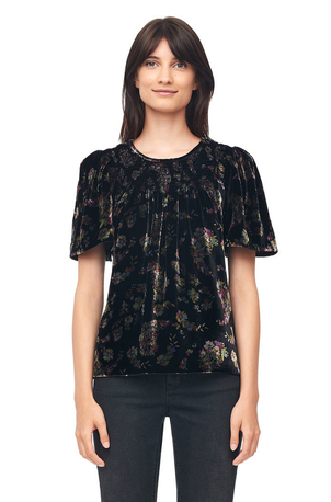 Rebecca Taylor Jewel Paisley Smocked Velvet Top Tops