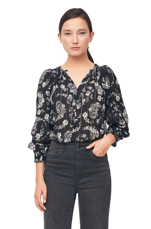 Rebecca Taylor Jewel Paisley Stripe Silk Top Tops
