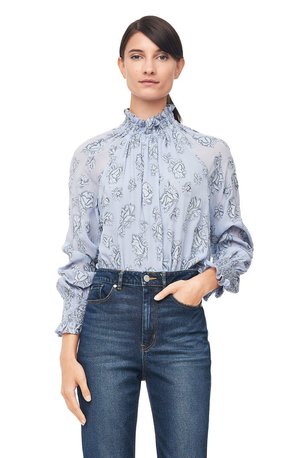 Rebecca Taylor Rose Metallic Clip Smocked Top Tops
