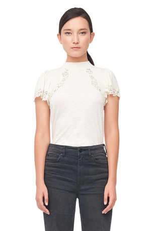 Rebecca Taylor Jersey & Lace Top Tops