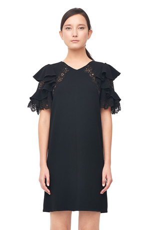 Rebecca Taylor Crepe & Lace Dress Dresses