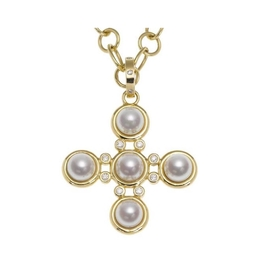 Temple St Clair Pearl Cross Necklace