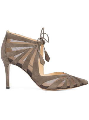 Marion Parke Mesh/Suede Ankle Tie Heels Shoes