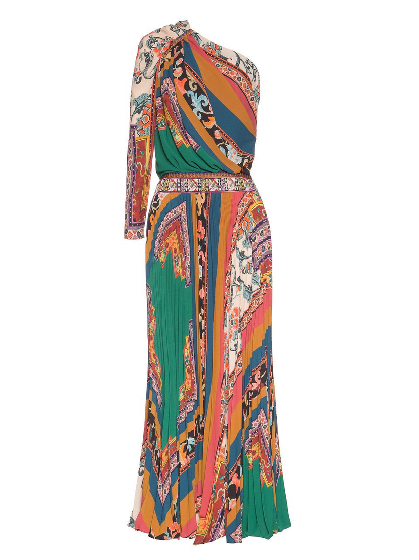Etro One Shoulder Printed Gown Dresses