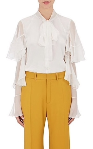 Chloé Chloe Pussy Bow Frills Blouse Tops