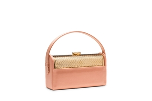 Bienen Davis Regine Minaudière in Blush Satin with Gold Finished Hardware Bags