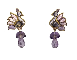 Gem Palace Amethyst Bird Earrings Jewelry