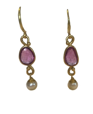 Gem Palace Rubellite & Pearl Drop Earrings Jewelry