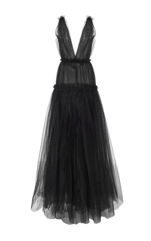 Oscar de la Renta Black Glittered Gown Dresses