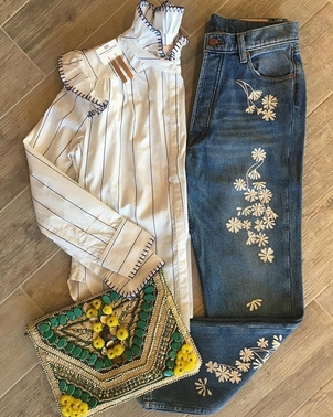 Antik Batik Bliss and Mischief Bliss & Mischief Blanket Stitch Blouse and Embroidered Denim Accessories Pants Tops