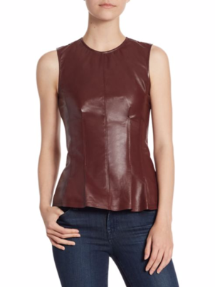 Theory Theory Leather Combo Peplum Top in Light Current Tops