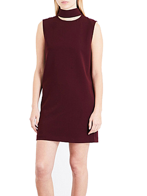 Theory Theory Slit Neck Crepe Dress in Dark Current Dresses