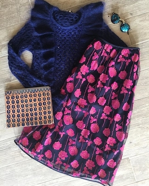 Manoush Manoush Navy Sweater and Floral Skirt Skirts Tops