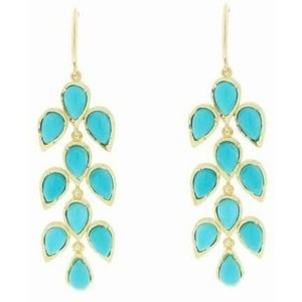 Irene Neuwirth Irene Neuwirth 18k yellow gold 3 Piece Turquoise Leaf Motif Earrings Jewelry