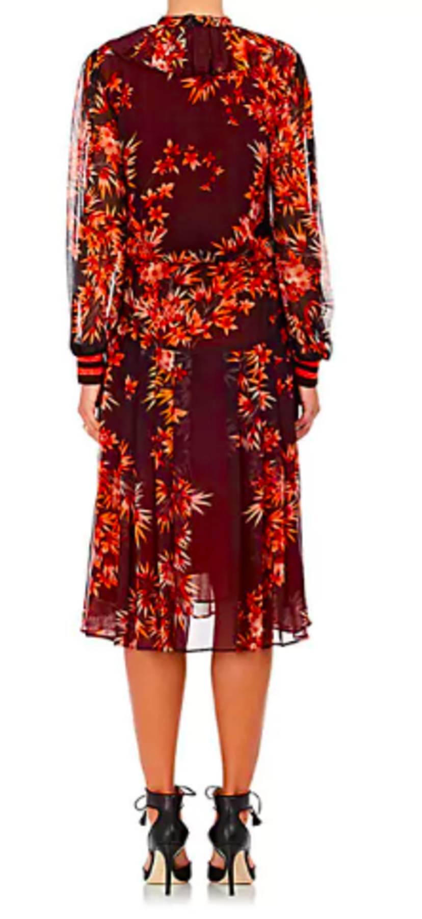 Warm Floral Chiffon Midi-Dress Dresses Sale
