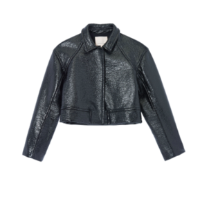 Rebecca Taylor Textured Vegan Leather Jacket Outerwear