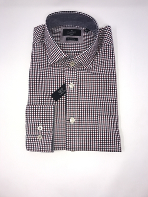 Hackett Two Color Gingham Shirt Blue/Wine Tops