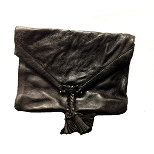 Embrazio Savannah Tumbled Leather Clutch in Black Bags