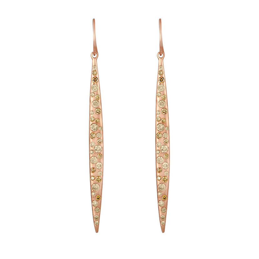LJ Cross Rose Gold Feather Earrings Jewelry