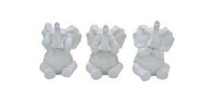 Three Hands Set Of Three White Elephant Tabletop Decor Home decor