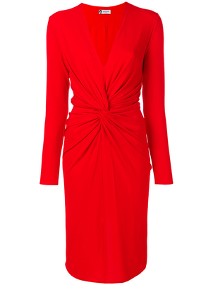 Lanvin V-Neck Knot Waist Dress Dresses