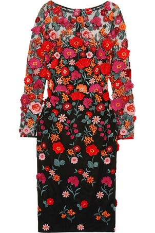 Lela Rose Appliquéd Embroidered Tulle Dress (Originally $2,250) Dresses Sale