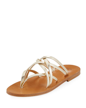 K. Jacques Aloes Metallic Strappy Sandal Shoes