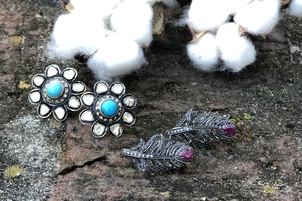 Theodosia Jewelry Turquoise Studs + Ruby Crawlers Jewelry