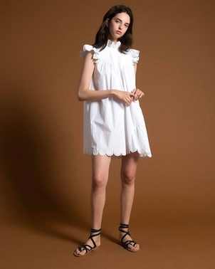 Sea Asymmetrical Pin Tuck Tunic Dresses
