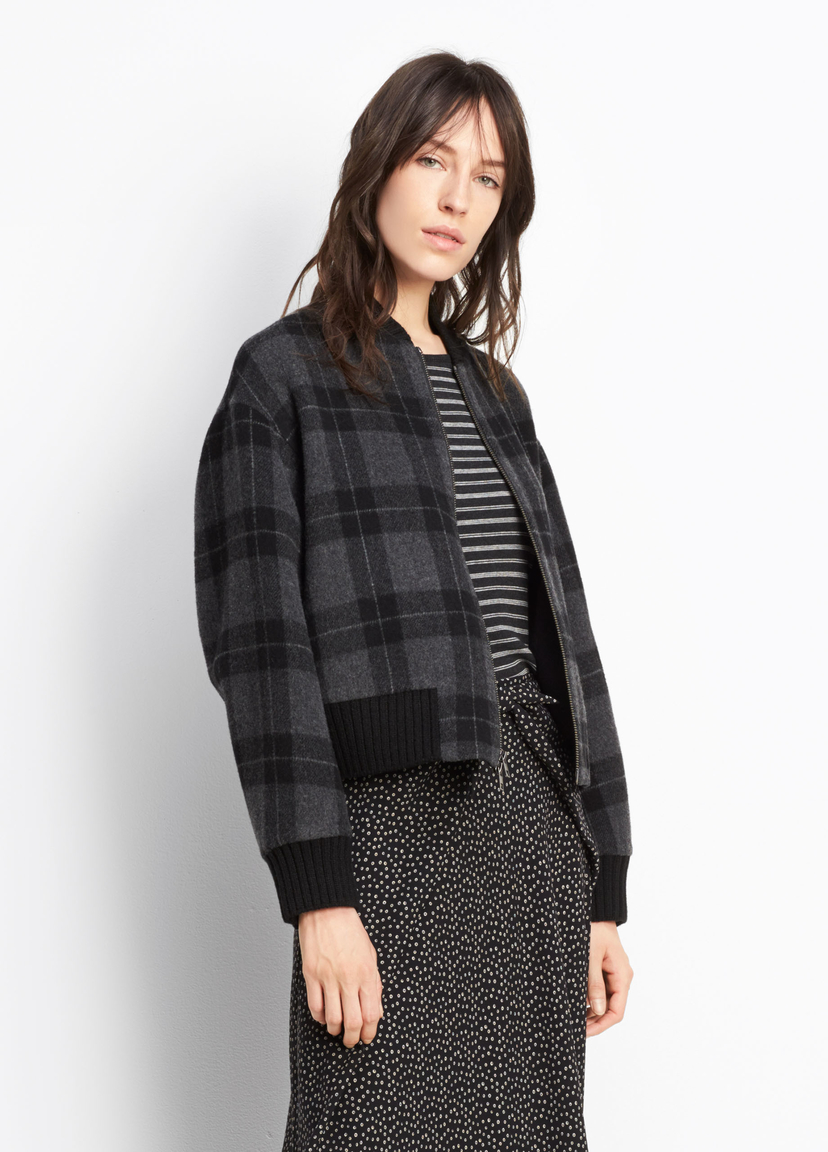 Vince Plaid Bomber Outerwear