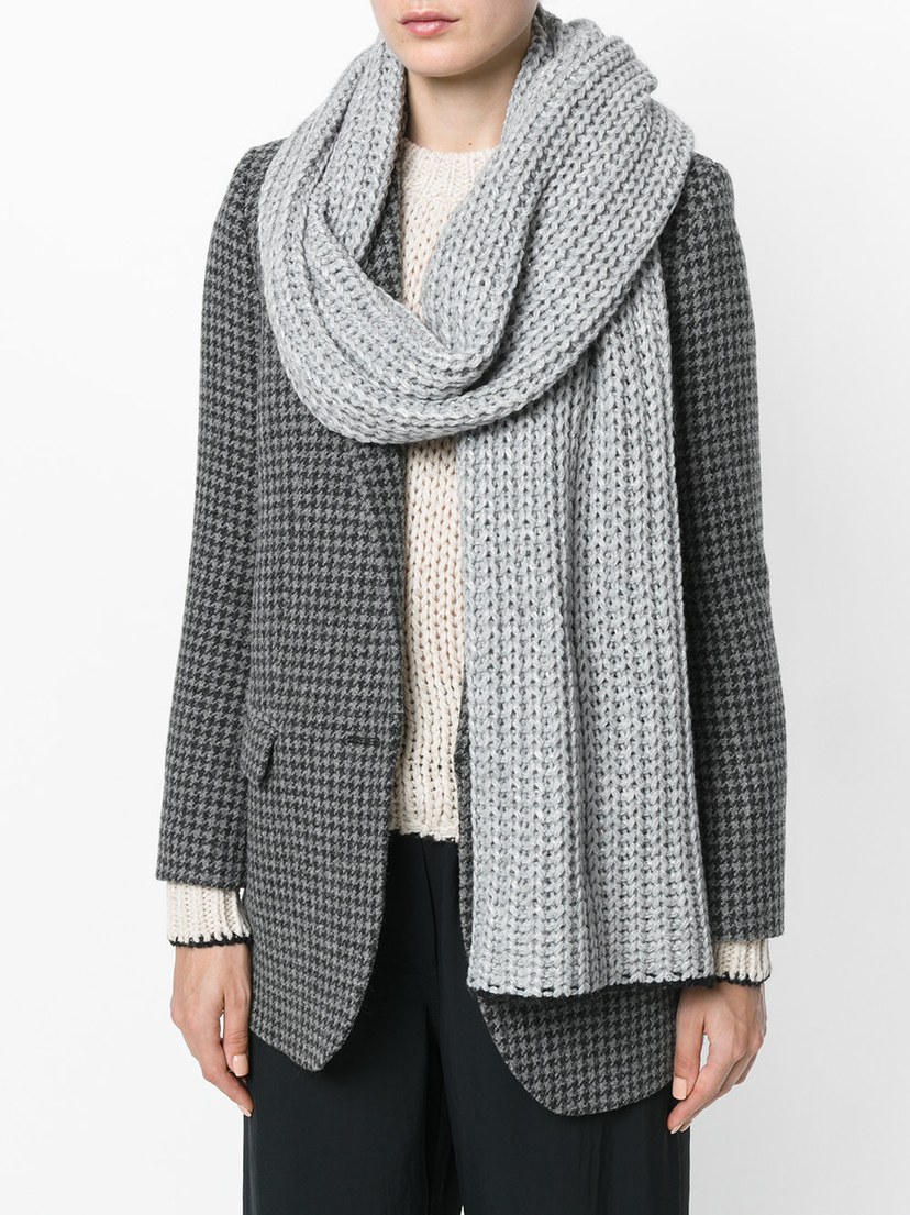 (Nude) Grey Chunky Knit Scarf Accessories