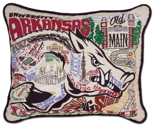 U of Arkansas Hand Embroidered Pillow Gifts Home decor