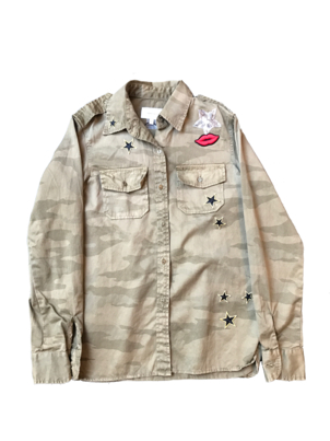 Current/Elliott The Perfect Shirt in Army with Patches Outerwear Tops