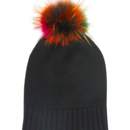 Cashmere Slouchy Beanie with Multicolor Pom