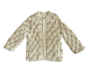 Just Say Native Handknit Gold & Cream Zip Sweater Tops