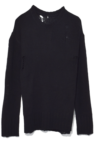 R13 Ripped Oversize Cashmere Sweater in Black Tops