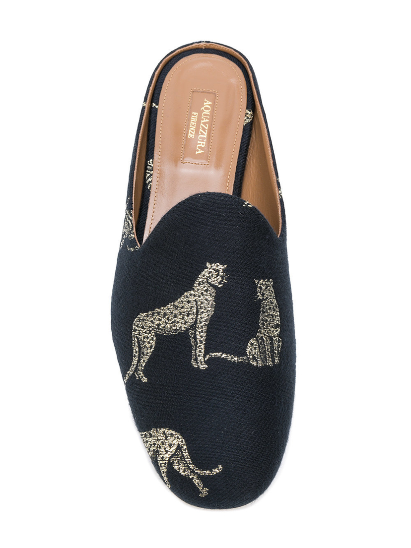 Aquazzura Brando Slippers in Panther Jacquard Shoes