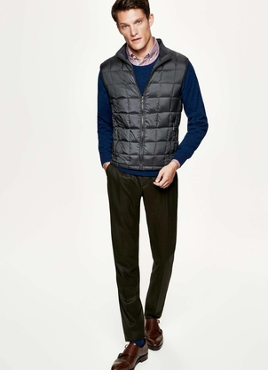 Hackett Knit Back Gilet Vest in Charcoal Men's