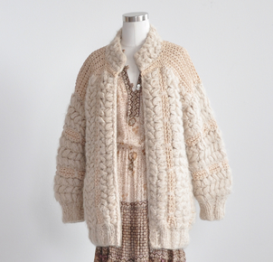 Just Say Native Norma Cream Crochet Zip Sweater Tops