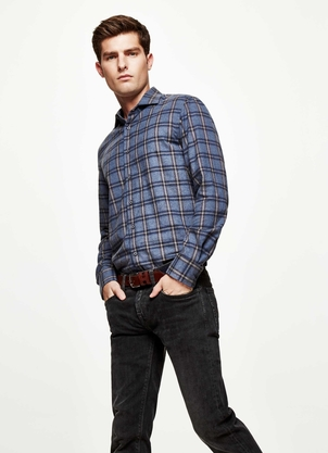 Hackett Large Plaid Navy Shirt Tops