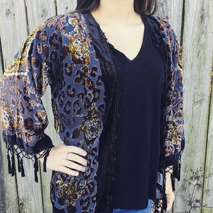 Silk Jacket with Velvet Burnout Outerwear Tops