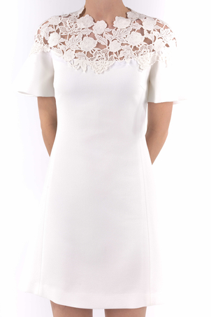 Giambattista Valli White Lace Neck Dress Dresses