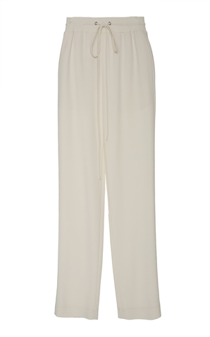 Sally LaPointe Drawstring Track Pant White Pants