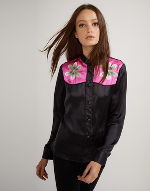Cynthia Rowley Embroidered Flower Button Down Tops